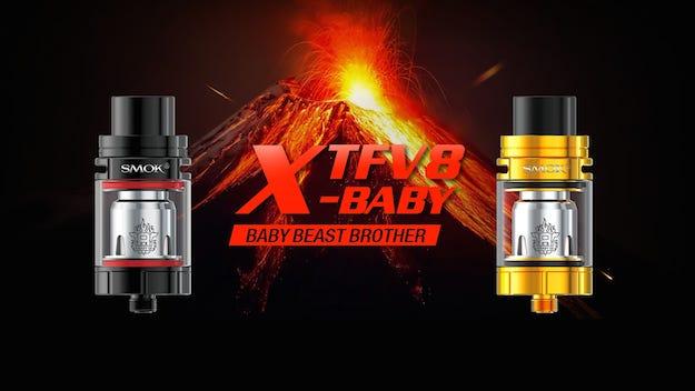 漏れないアトマイザー「SMOK TFV8 X-Baby」レビュー | トップエアフロー構造でリキッド漏れ防止